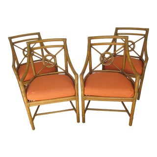McGuire Leather & Cane Chairs - Set of 4 For Sale