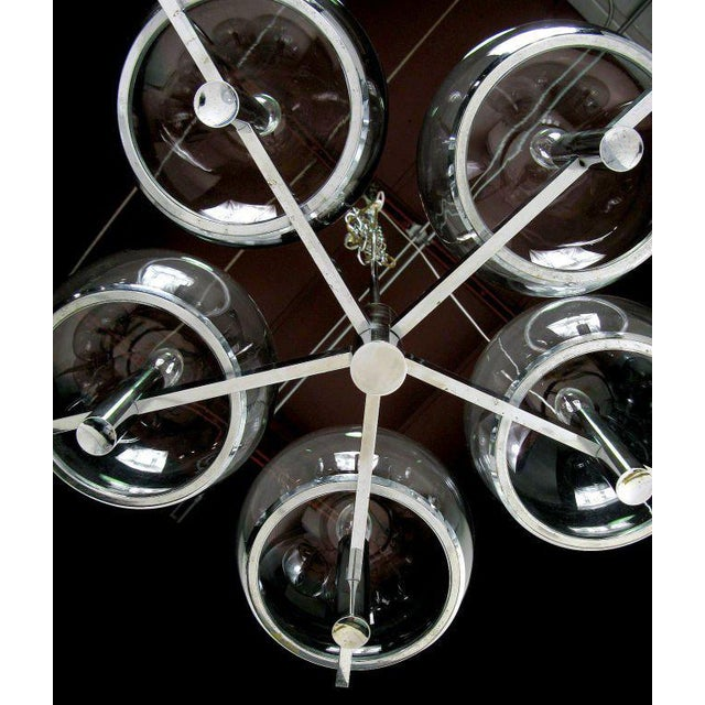 Gaetano Sciolari Chrome & Smoked Glass Five-Arm Chandelier For Sale In Chicago - Image 6 of 8