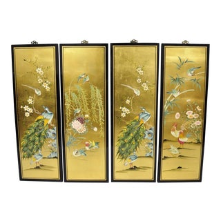 "Asian Style Gold Leaf Black Lacquer 36"" Wall Panels - Set of 4 For Sale"