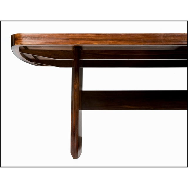 Soft-Edged Rectangular Dining Table in Rosewood With Black Underpainted Glass Top and Curved Legs For Sale In New York - Image 6 of 9