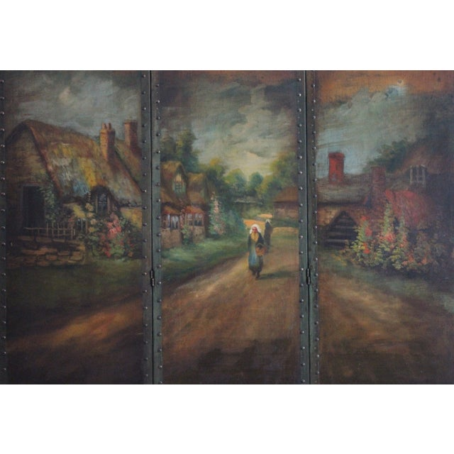 Offered is a hand painted oil on canvas room screen made by Roman Art Screen Company. This beauty features a landscape...