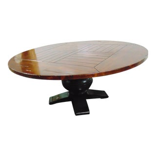 Country French Round Bulbous Pedestal Dining Table For Sale