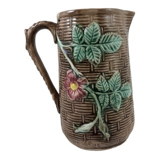 20th Century French Traditional Brown Majolica Pitcher