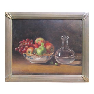 "Late 19th Century Antique William Brewster Conely ""Still Life of Fruit, Carafe and Bowl"" Oil Painting For Sale"