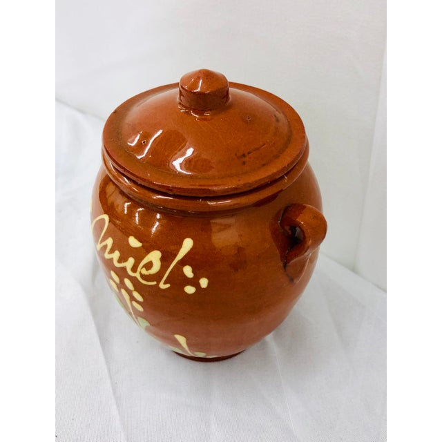 French Provincial Vintage French Hand Painted Terra Cotta Clay Pottery Mustard Jar For Sale - Image 3 of 7