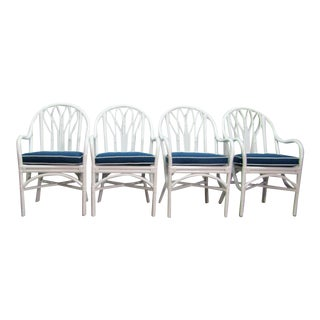 Vintage Mid Century McGuire Bamboo Dining Arm Chairs- Set of 4 For Sale