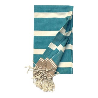 Turkish Tamam Teal + Tan Stripes Handwoven Cotton Towel For Sale