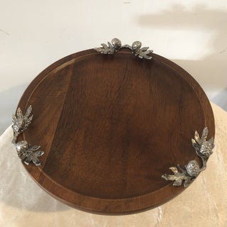 Holiday Teak Pedestal Serving Plate With Acorn Accents Preview