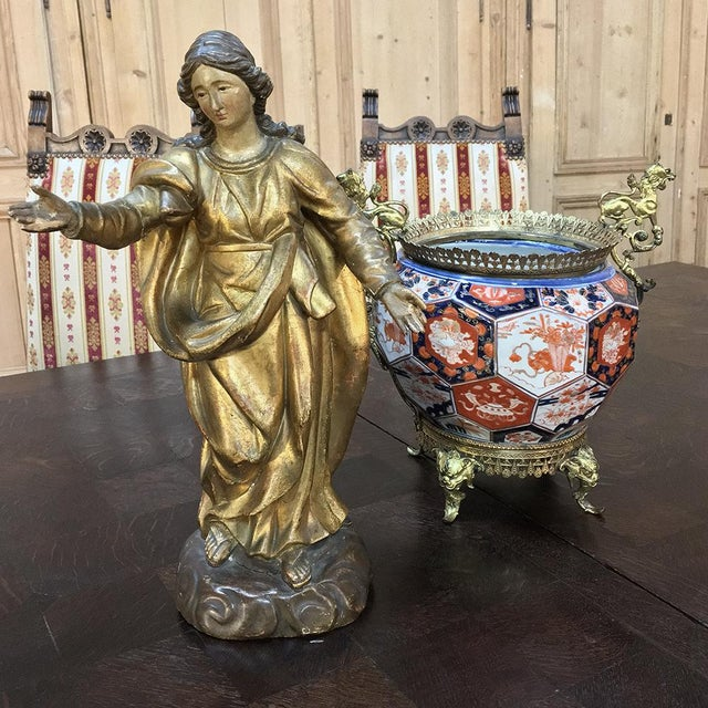 19th Century Giltwood Polychrome Statue of Madonna For Sale - Image 4 of 12