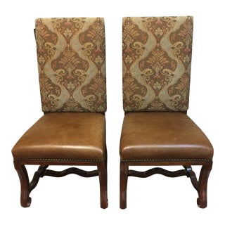 American Drew Leather Host Chairs - A Pair For Sale