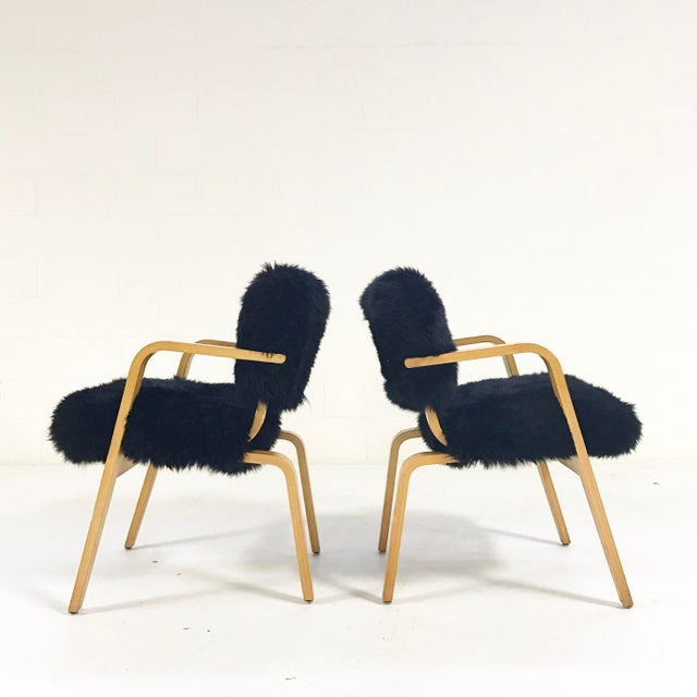 Contemporary Forsyth One of a Kind Black Sheepskin Armchairs In The Style of Joe Atkinson for Thonet- Pair For Sale - Image 3 of 7