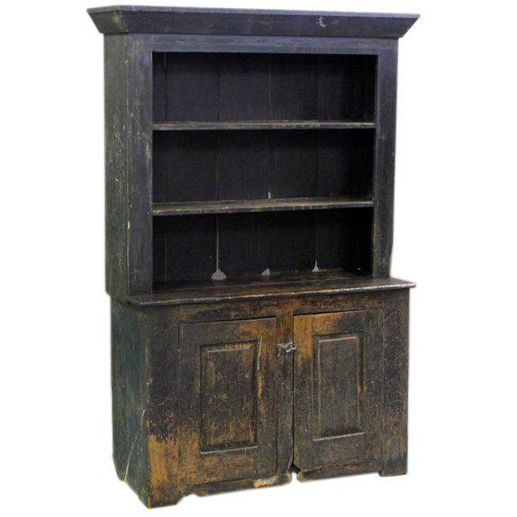 Primitive American Primitive Cabinet With Original Paint For Sale - Image 3 of 3