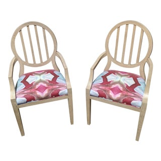 Emma Oval Back Arm Chairs in Windy O'Connor Fabric - a Pair For Sale