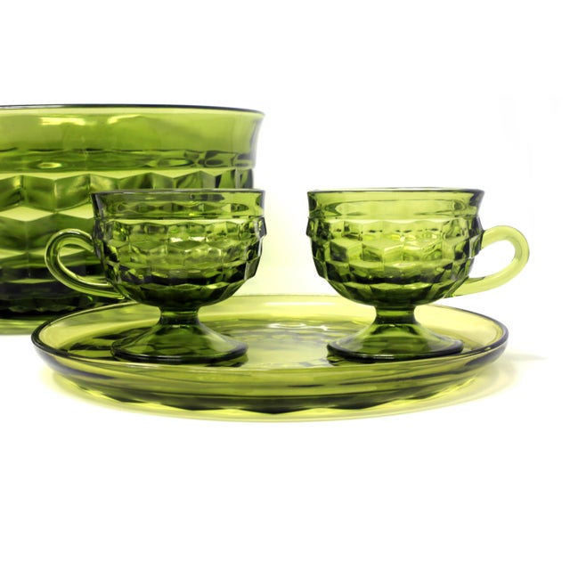 Glass 1970's Colony Whitehall Collection Green Punch Bowl, Cups and Plates - Set of 7 For Sale - Image 7 of 11