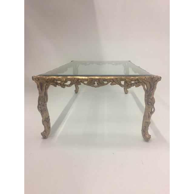 Italian 1960s Vintage Italian Faux Bois Hand Carved Gilded Wood Coffee Table For Sale - Image 3 of 13