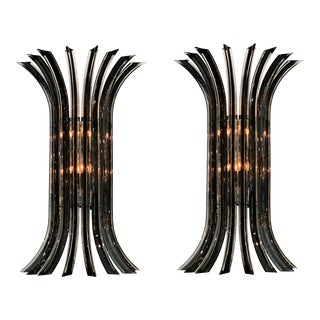 Murano Glass Venini Curved Sconces - a Pair For Sale