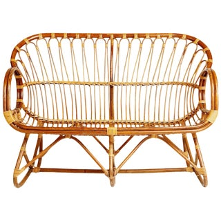 Sculptural Bent Bamboo Settee in the Style of Franco Albini, Circa 1960 For Sale
