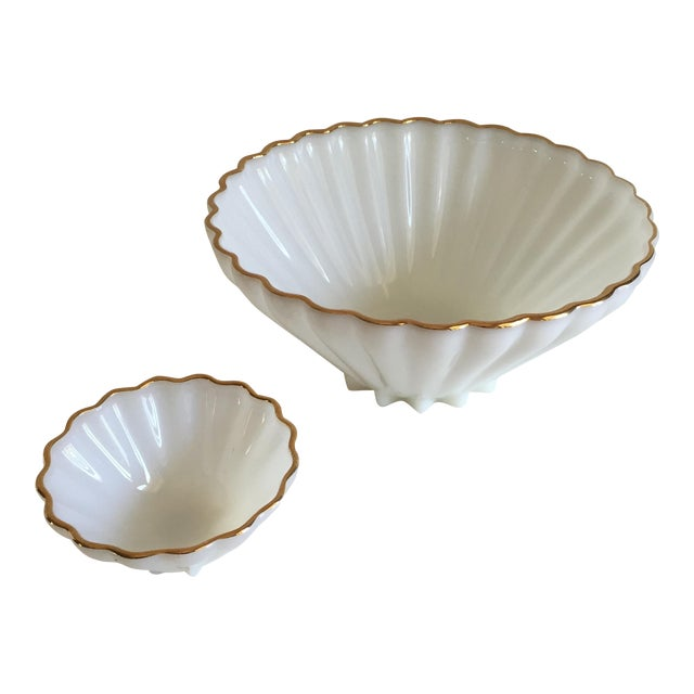 Classic Milk Glass Anchor Hocking Bowl Set - Pair - Image 1 of 10