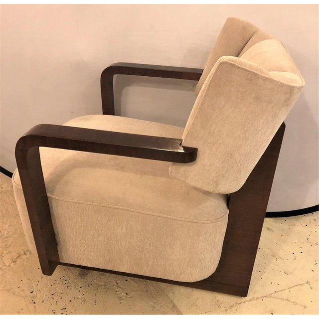 Art Deco Pair of Modern Art Deco Rosewood Club Bergère or Lounge Chairs For Sale - Image 3 of 13