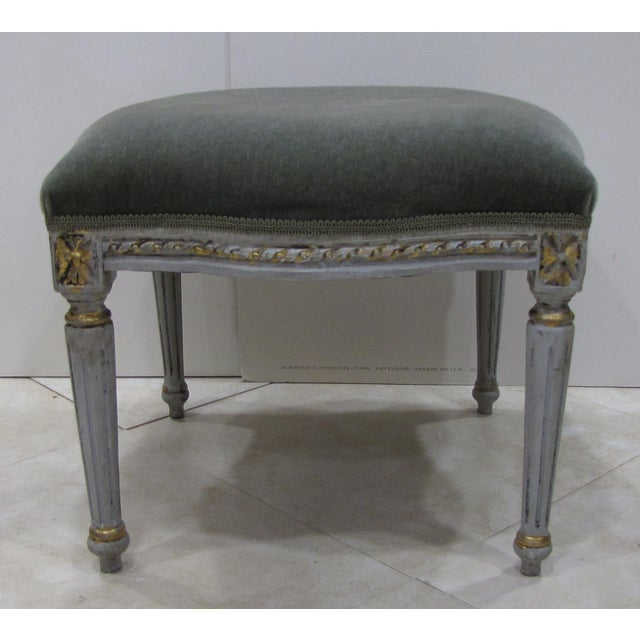 Hand Carved Louis XV Style Mohair Upholstered Stool - Image 2 of 3