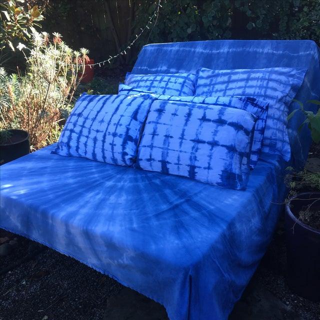 Indigo Hand Dyed Shibori Blanket Throw - Image 4 of 7