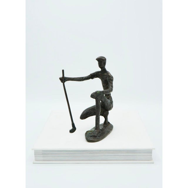 Mid-Century Modern Vintage Bronze Golfer on the Green Sculpture For Sale - Image 3 of 9