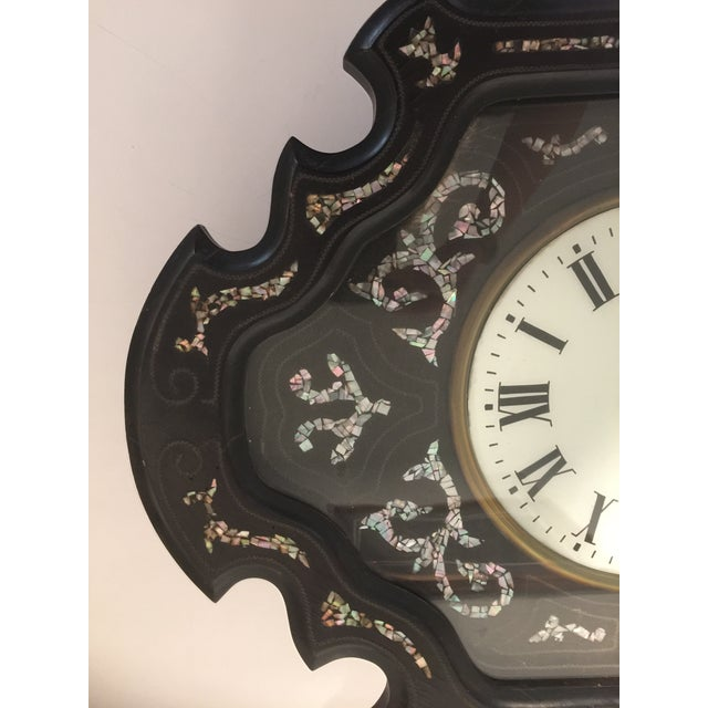 Mid 19th Century Napoleon III Ebony and Mother of Pearl Inlay Wall Clock For Sale - Image 5 of 11