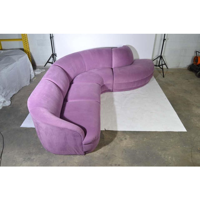 Milo Baughman Serpentine Sectional Microsuede Sofa, Circa 1980 For Sale In Philadelphia - Image 6 of 12