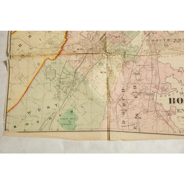 Antique Folding Map of City of Boston and Its Environs 1874 For Sale In New York - Image 6 of 11