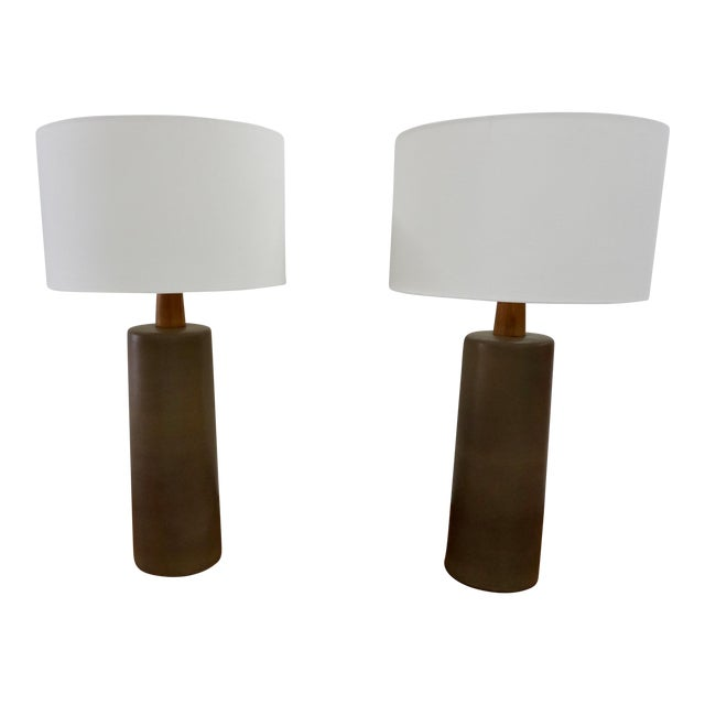 1950s Tall Ceramic Lamps by Gordon Martz - a Pair For Sale