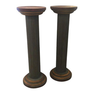 Neoclassical Carved Wood Painted Architectural Columns - a Pair For Sale
