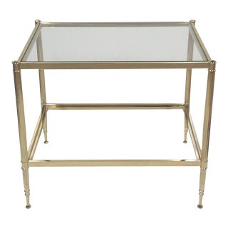 Jansen Style Brass and Glass End Table