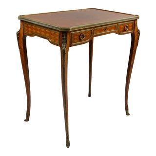 Antique Gilt Bronze Parquetry Inlaid Occasional Table Louis XVI Style For Sale