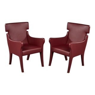 Pair of Ignazio Gardella Leather Chairs For Sale