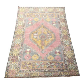 1960s Vintage Nomadic Floral Wool Rug- 3′7″ × 5′7″ For Sale