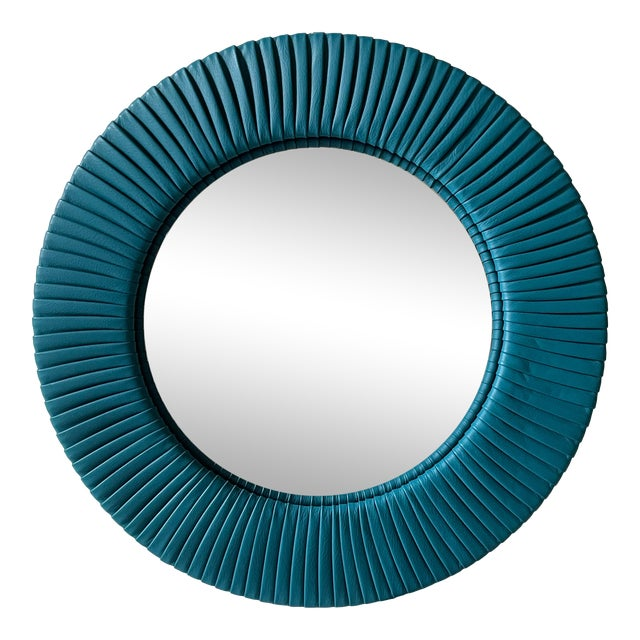 Poltrona Frau Convex Leather Mirror For Sale