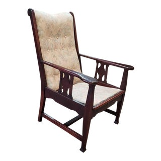 Art Nouveau Mahogany Side Chair W/ Arms C.1910 For Sale