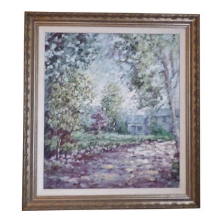 Vintage Mid-Century Lisandro Lopez Bayon Impressionistic Pastel Oil Painting For Sale