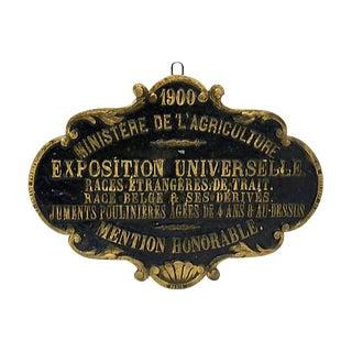 Antique Paris Horse Show Award Plaque - D. 1900 For Sale