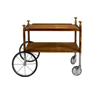 1960s Bar Cart by Walter Wirz, Zebra Wood, Chrome Plated Brass - Germany For Sale