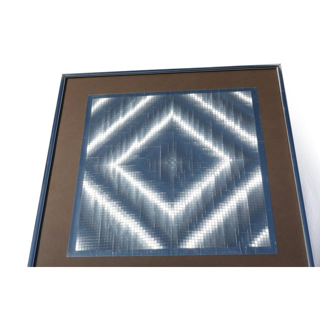 Mid-Century Modern 1970s Op Art Foil Painting For Sale - Image 3 of 7