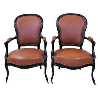 Tan Leather French Armchairs - A Pair For Sale