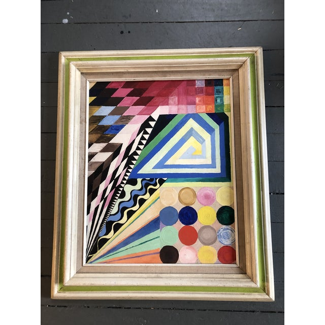 Vintage Original Abstract Geometric Modernist Painting 1970's For Sale - Image 4 of 6