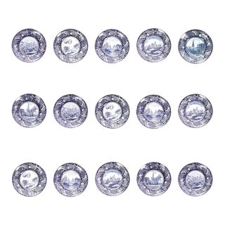 English Victorian Staffordshire Porcelain Plates - Set of 15 For Sale