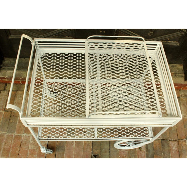 White 1940s Vintage Wrought Iron Patio Bar Cart For Sale - Image 8 of 10