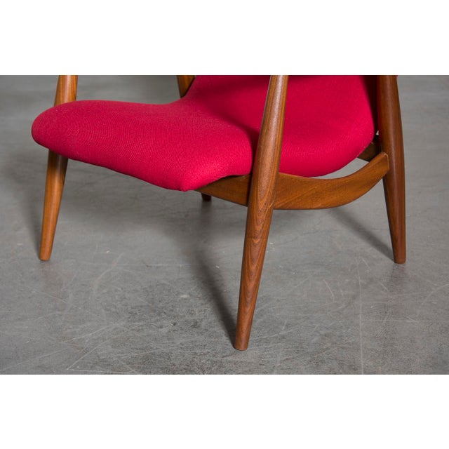 Mid-Century Magenta Upholstery Teak Lounge Chair - Image 8 of 10
