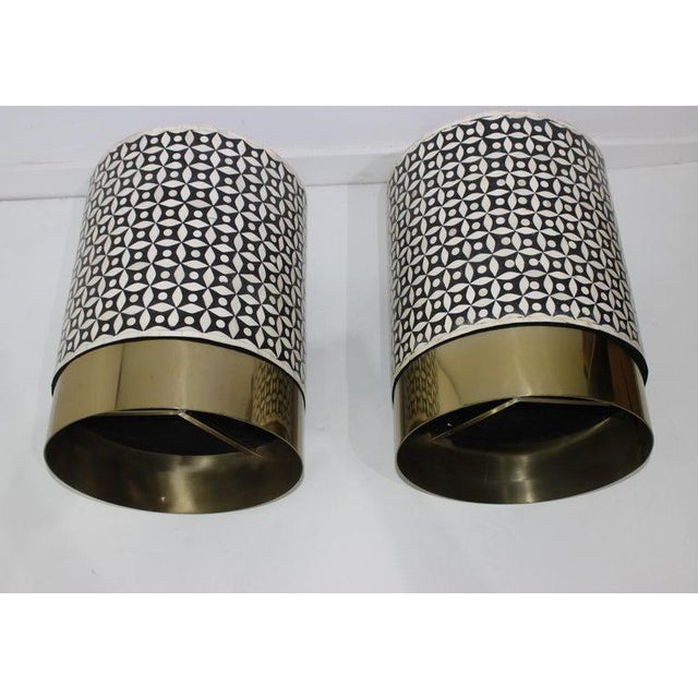 Metal Vintage Drum Tables Tessellated Black and White Bone - a Set of 2 For Sale - Image 7 of 13