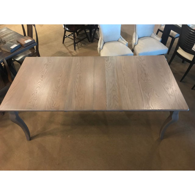 Mediterranean Amish Made Whitewashed Oak Expandable Dining Table For Sale - Image 3 of 9