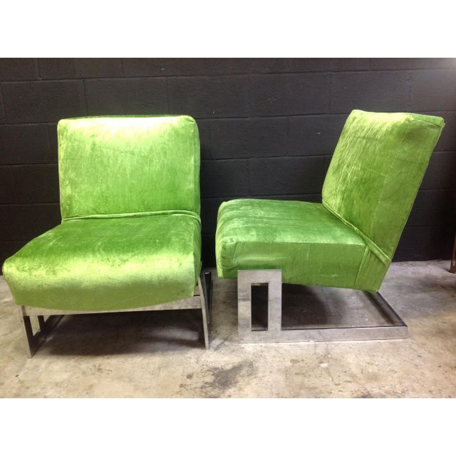 Milo Baughman Style Chrome Accent Chairs - A Pair - Image 2 of 6
