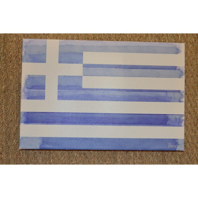 Parvez Taj Greek Flag Painting - Image 3 of 6